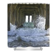 Waves Under The Pier Portrait Shower Curtain