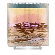 Waves With Sunset Shower Curtain