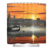 Wawel Sunrise Krakow Shower Curtain