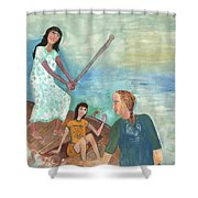 We All Went Punting In Progress Shower Curtain