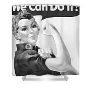 We Can Do It Shower Curtain by Dan Sproul
