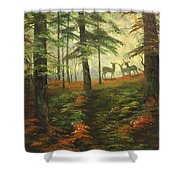 We Know That Stags Here Somewhere Shower Curtain