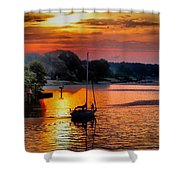 We Sail At Sunrise Shower Curtain