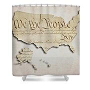 We The People - Us Constitution Map Shower Curtain