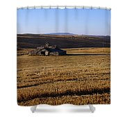 Weathered Barn In Field Shower Curtain