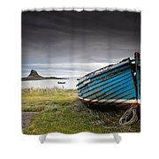 Weathered Boat On The Shore Shower Curtain