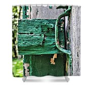 Weathered Green Paint Shower Curtain