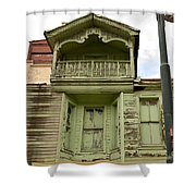 Weathered Old Green Wooden House Shower Curtain