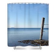 Weathered Old Wooden Pole Shower Curtain