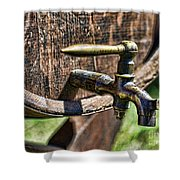 Weathered Tap And Barrel Shower Curtain by Paul Ward