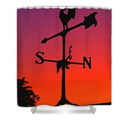 Weathervane At Sunset Shower Curtain