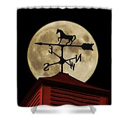 Weathervane Before The Moon Shower Curtain