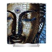 Web Of Dharma - Modern Blue Buddha Art Shower Curtain