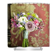 Wedding Bouquet And Vintage Wallpaper Shower Curtain