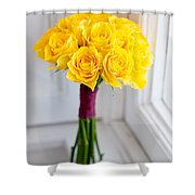 Wedding Bouquet Of Yellow Roses Shower Curtain
