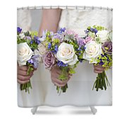 Wedding Bouquets Held By Bridesmaids Shower Curtain
