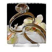 Wedding Cake Rings Black Shower Curtain