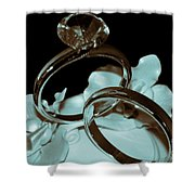 Wedding Ring Cake Topper Cyan Shower Curtain