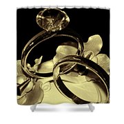 Wedding Rings Cake Top Blk Antiqued Shower Curtain