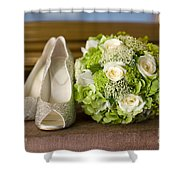 Wedding Shoes And Flowers Bouquet Shower Curtain