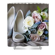 Wedding Shoes And Flowers Shower Curtain
