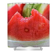 Wedge Of Watermelon, A Bite Taken, In A Glass Bowl Shower Curtain
