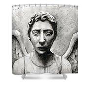 Weeping Angel Don't Blink Doctor Who Fan Art Shower Curtain