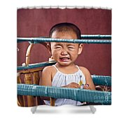 Weeping Baby In His Buggy Shower Curtain