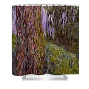 Weeping Willow And The Waterlily Pond Shower Curtain