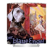 Weimaraner Art Canvas Print - Der Blaue Engel Movie Poster Shower Curtain