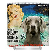 Weimaraner Art Canvas Print - River Of No Return Movie Poster Shower Curtain