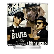 Weimaraner Art Canvas Print - The Blues Brothers Movie Poster Shower Curtain