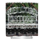 Welcome Historic Jefferson Texas Railroad Sign Shower Curtain
