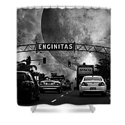 Welcome To Encinitas California 5d24221 Black And White Shower Curtain by Wingsdomain Art and Photography