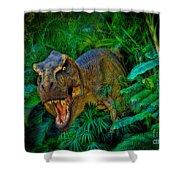 Welcome To My Park Tyrannosaurus Rex Shower Curtain