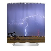 Weld County Dacona Oil Fields Lightning Thunderstorm Shower Curtain