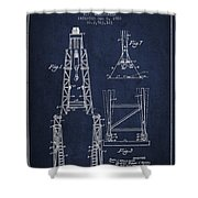 Well Drilling Apparatus Patent From 1960 - Navy Blue Shower Curtain