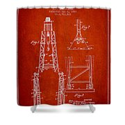 Well Drilling Apparatus Patent From 1960 - Red Shower Curtain