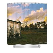 Old Well House And Golden Clouds Shower Curtain