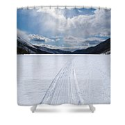 Well Used Winter Trail On Frozen Mountain Lake Shower Curtain