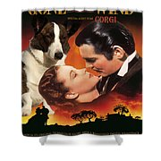 Welsh Corgi Cardigan Art Canvas Print - Gone With The Wind Movie Poster Shower Curtain