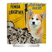 Welsh Corgi Pembroke Art Canvas Print - 12 Angry Men Movie Poster Shower Curtain