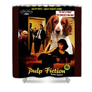 Welsh Springer Spaniel Art Canvas Print - Pulp Fiction Movie Poster Shower Curtain