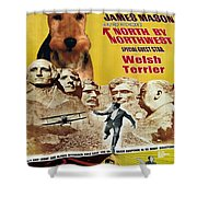 Welsh Terrier Art Canvas Print - North By Northwest Movie Poster Shower Curtain