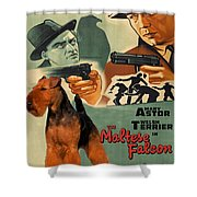 Welsh Terrier Art Canvas Print - The Maltese Falcon Movie Poster Shower Curtain