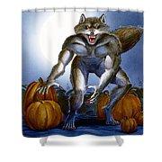 Werewolf With Pumpkins Shower Curtain