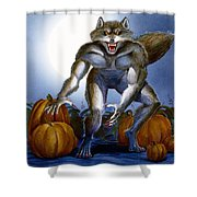 Werewolf With Pumpkins Shower Curtain