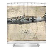 Werner Schroer Messerschmitt Bf-109 - Map Background Shower Curtain