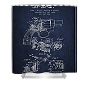 Wesson Hobbs Revolver Patent Drawing From 1899 - Blue Shower Curtain