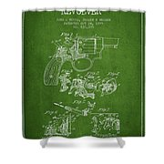 Wesson Hobbs Revolver Patent Drawing From 1899 - Green Shower Curtain